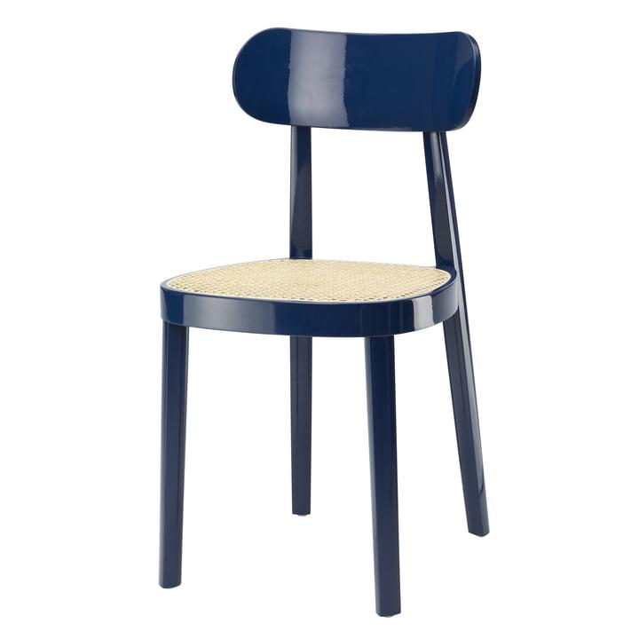 118 Chaise en Thonet osier avec support en plastique / hêtre laqué bleu saphir (RAL 5003) (édition spéciale)