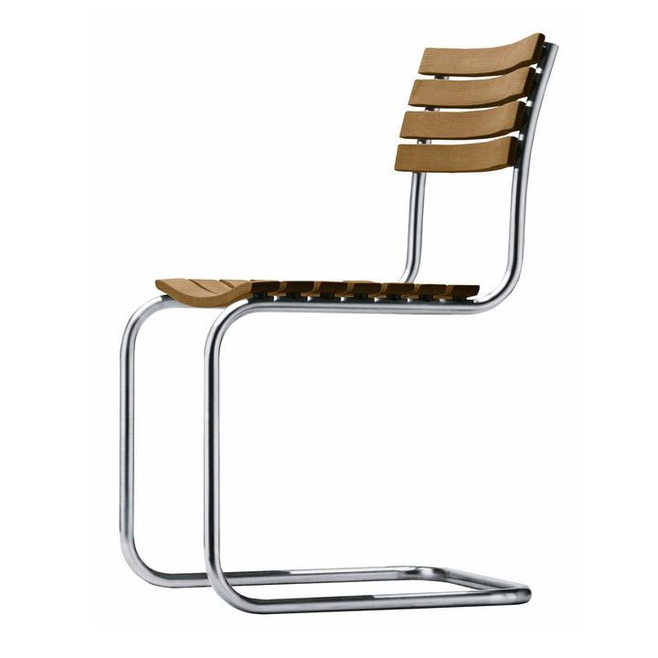 S 40 Chaise d'extérieur, piétement acier inox tube rond / assise et dossier Iroko huilé par Thonet
