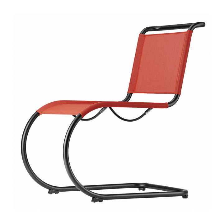 S 533 N Chaise avec cadre en noir (TS 9005) / tissu en cerisier (toutes saisons) par Thonet