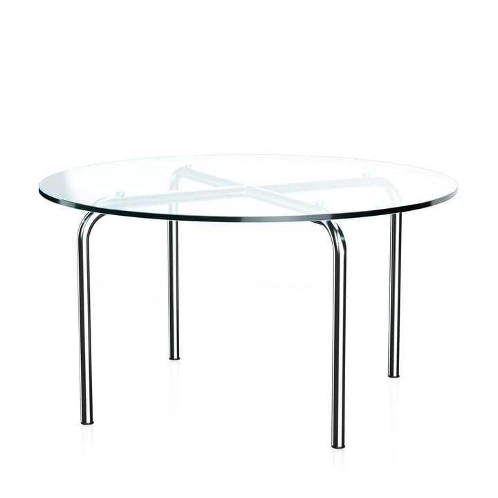 MR 516 Table d'appoint Thonet, Ø 70 x H 38 cm, tube acier chromé et verre clair