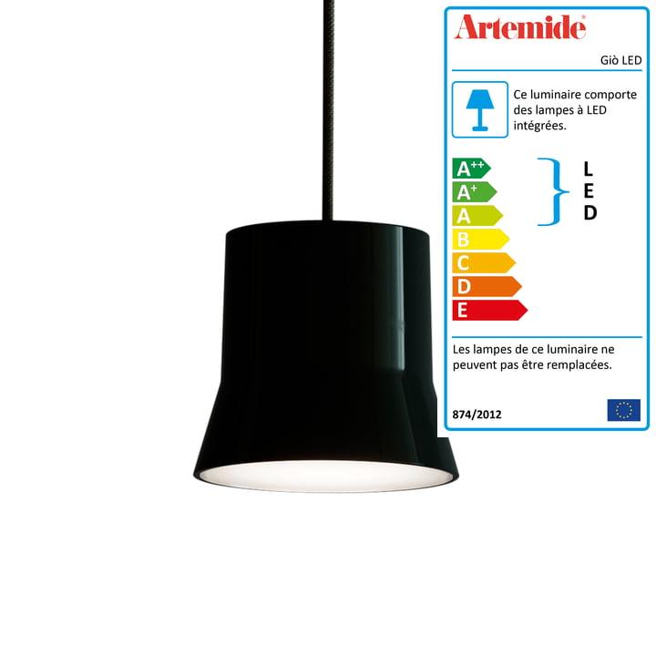 Giò luminaire suspendu LED d'Artemide en noir