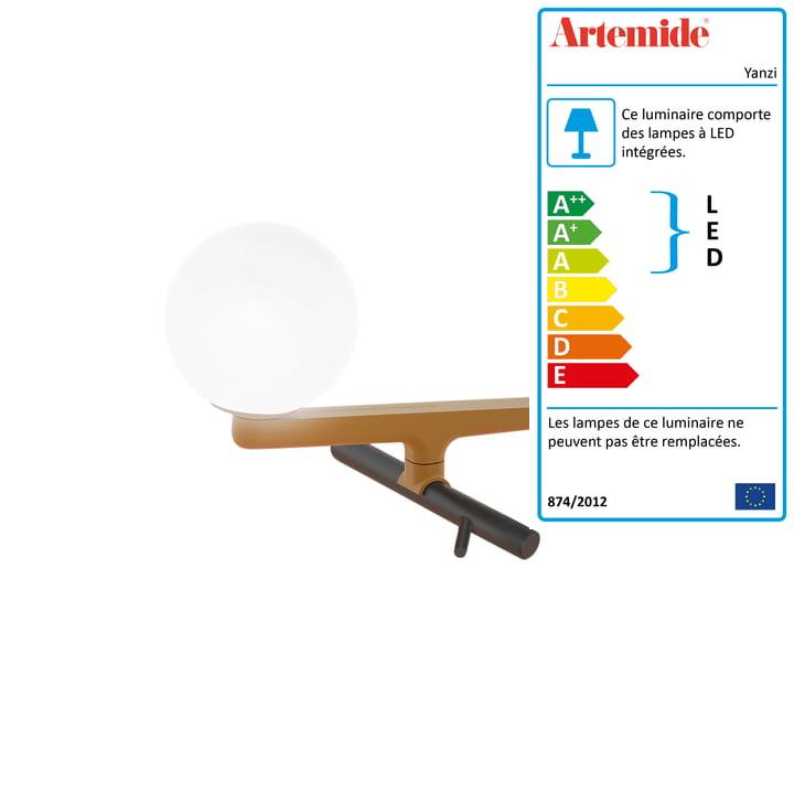 Yanzi lampe de table LED Artemide en laiton brossé / noir