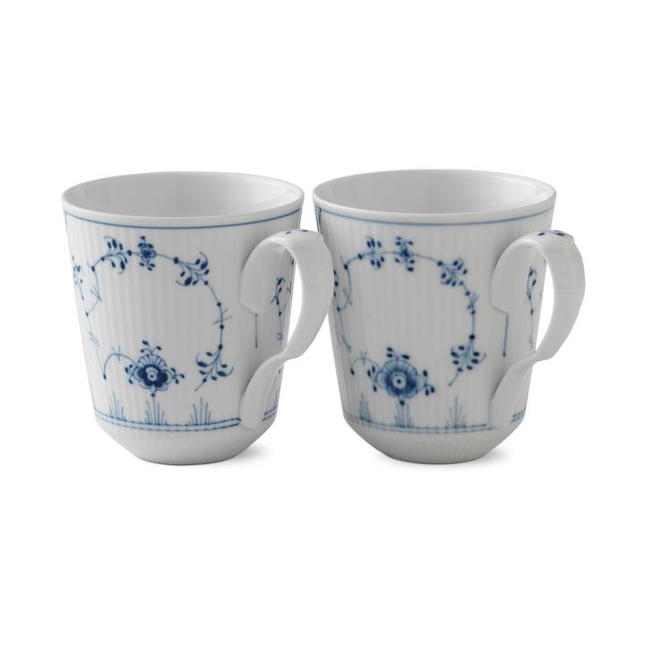 Mug à côtes Musselmalet 37 cl en blanc / bleu (lot de 2) par Royal Copenhagen