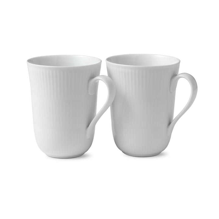 Tasse à côtes blanches 33 cl (Lot de 2) de Royal Copenhagen