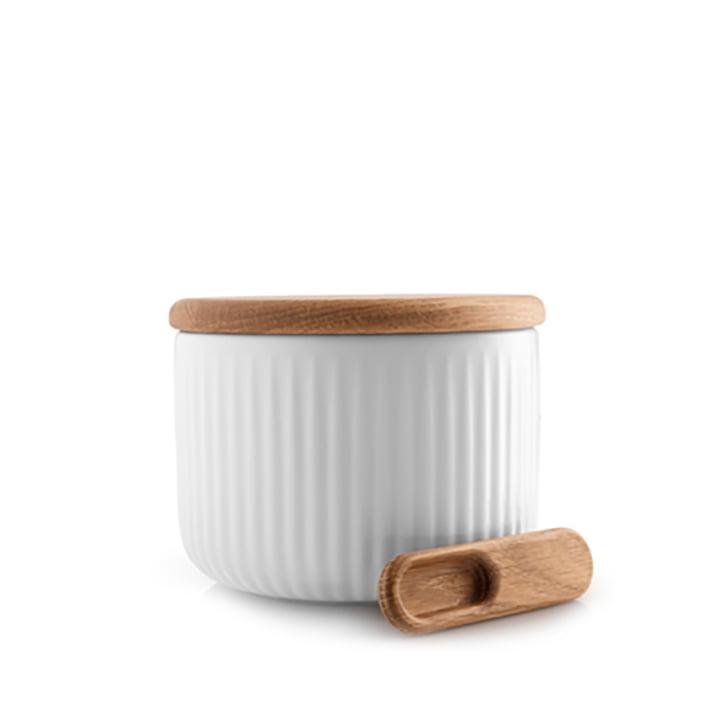 Boîte à sel Legio Nova avec couvercle & Cuillère d'Eva Trio en chêne / blanc
