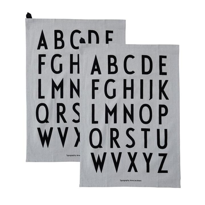Torchon classique en gris (set de 2) par Design Letters