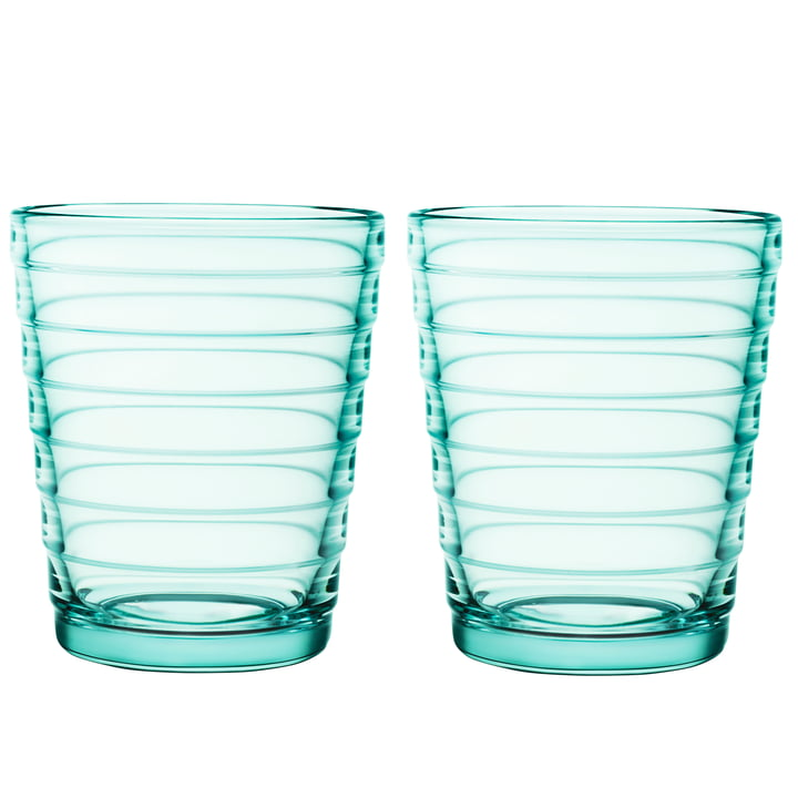 Tasse en verre Aino Aalto 22 cl en vert d'eau (ensemble de 2) par Iittala