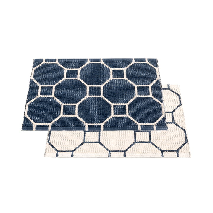 Racloir à tapis réversible, 70 x 50 cm en bleu foncé / vanille par Pappelina