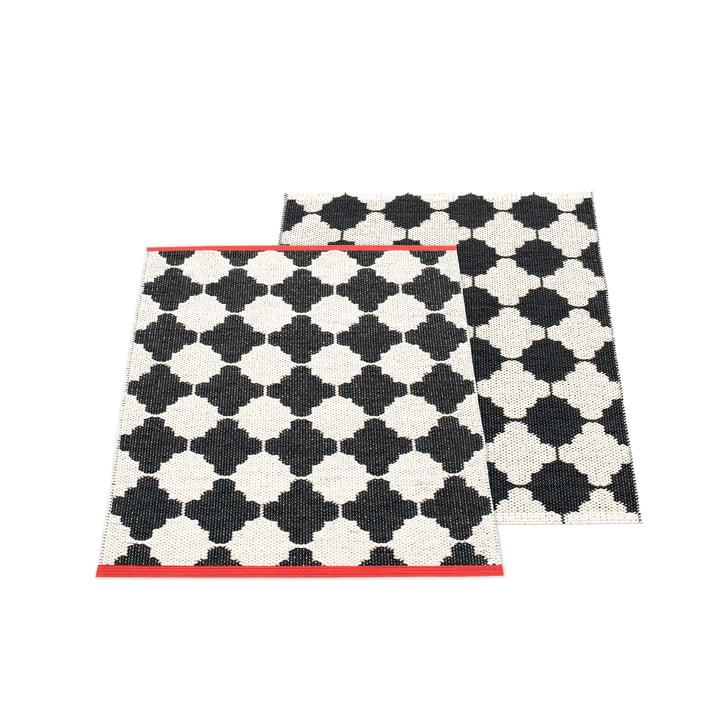 Tapis réversible Marre, 70 x 90 cm en noir / vanille par Pappelina