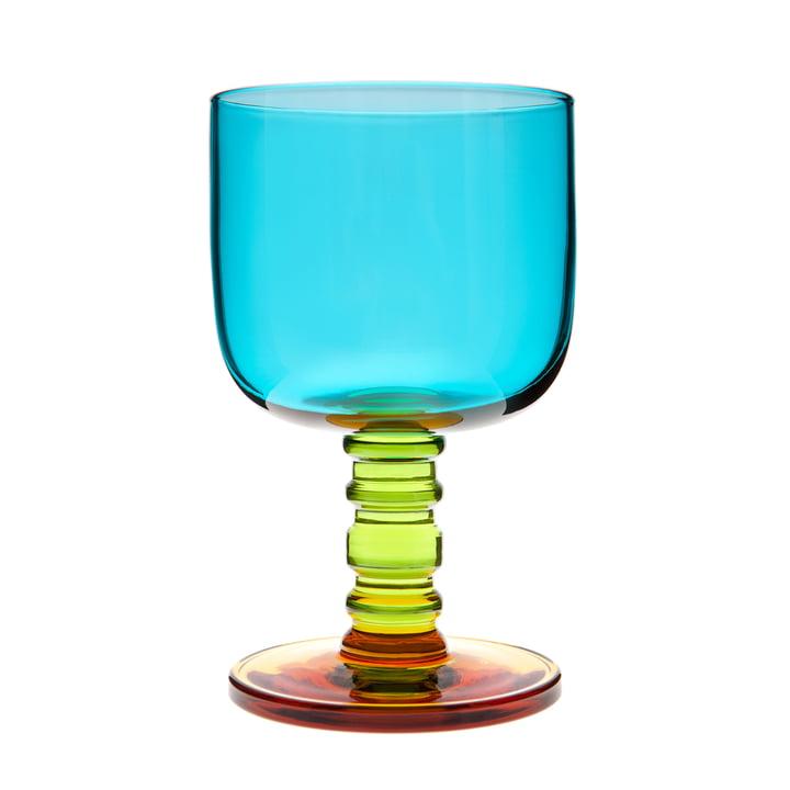 Verre à vin Sukat Makkaralla 300 ml de Marimekko en turquoise, vert et jaune