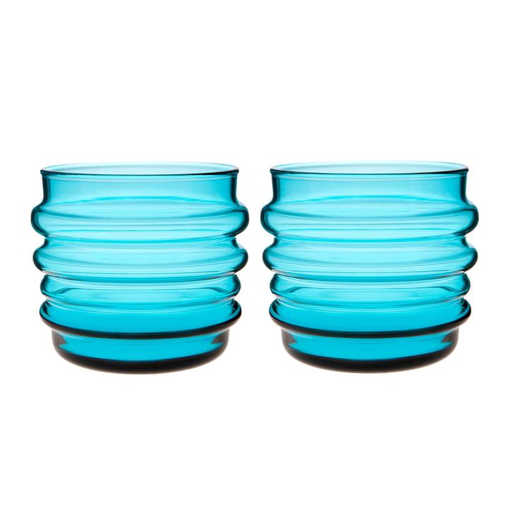 Verre à eau Sukat Makkaralla 200 ml (lot de 2) de Marimekko en turquoise