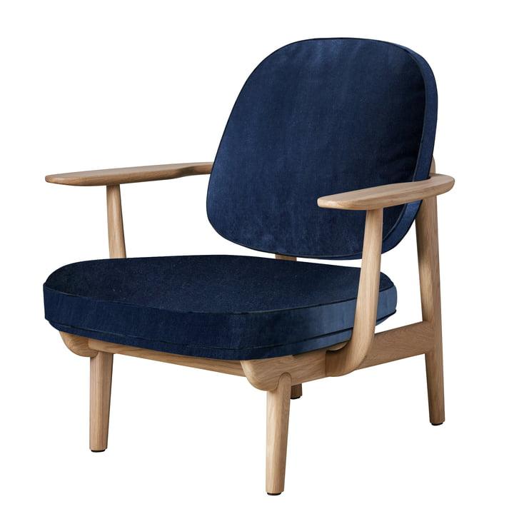 Chaise longue JH97 de Fritz Hansen en chêne laqué clair / velours bleu foncé (Harald 3 / 0812)