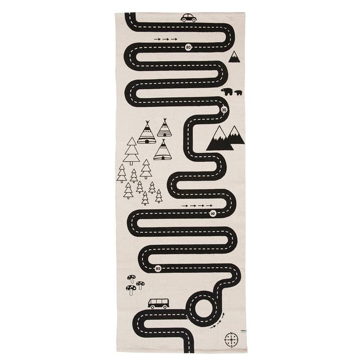 Tapis de jeu aventure 180 x 70 cm de OYOY en noir / blanc