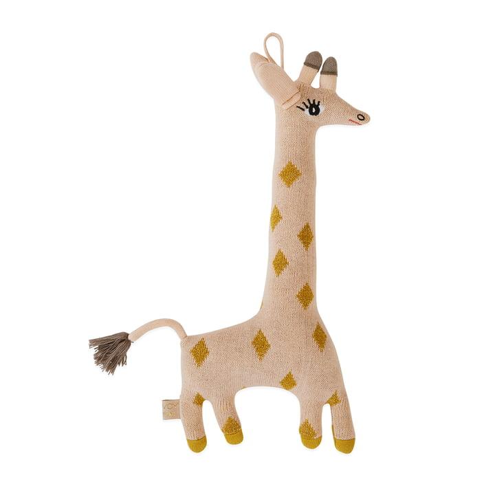 Peluche tricotée Baby Giraffe Guggi par OYOY