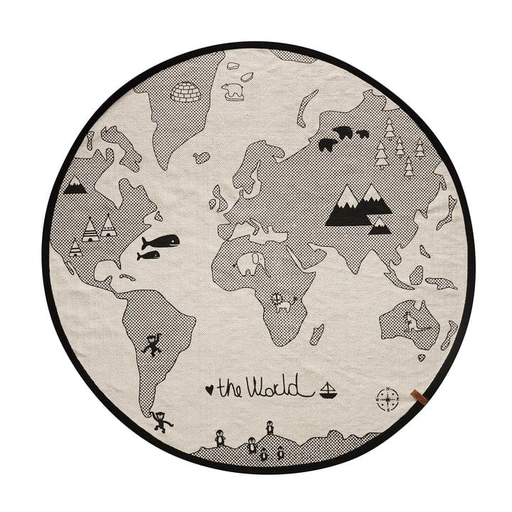 Le tapis de jeu World play Ø 135 cm de OYOY en noir / gris