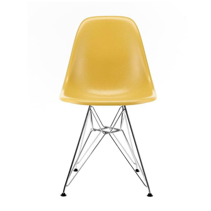 Eames Fiberglass Side Chair DSR from Vitra in basic dark / Eames ochre light