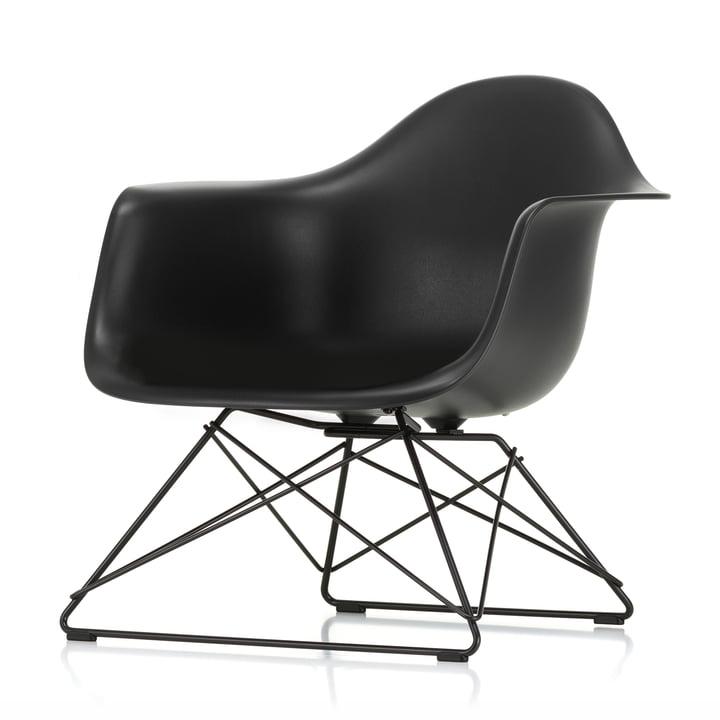 Eames Fauteuil en plastique LAR by Vitra en noir foncé / noir foncé basique