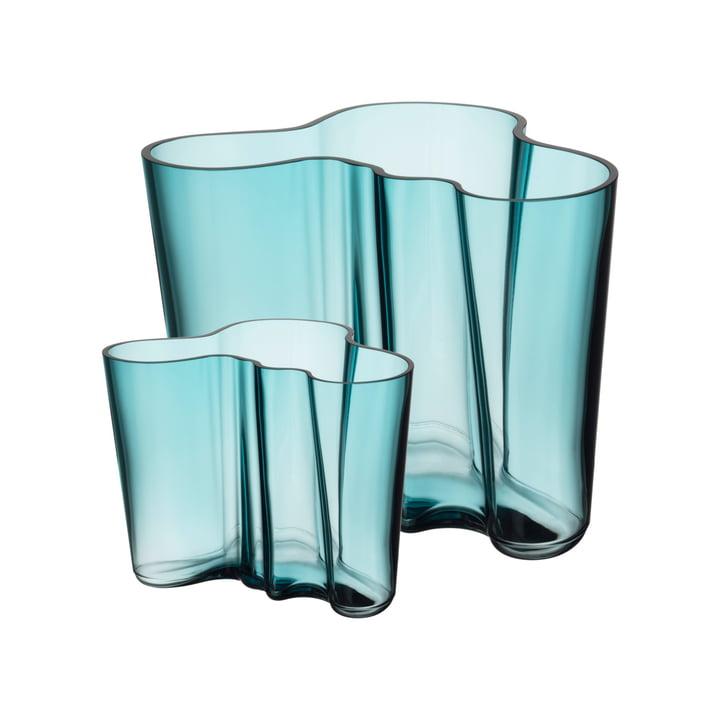Set vase Aalto 160 + 95 mm d'Iittala en bleu marine