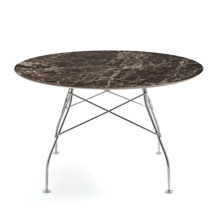 Table brillante Ø 128 x H 72 cm de Kartell en chrome / Marron marbré Empereur