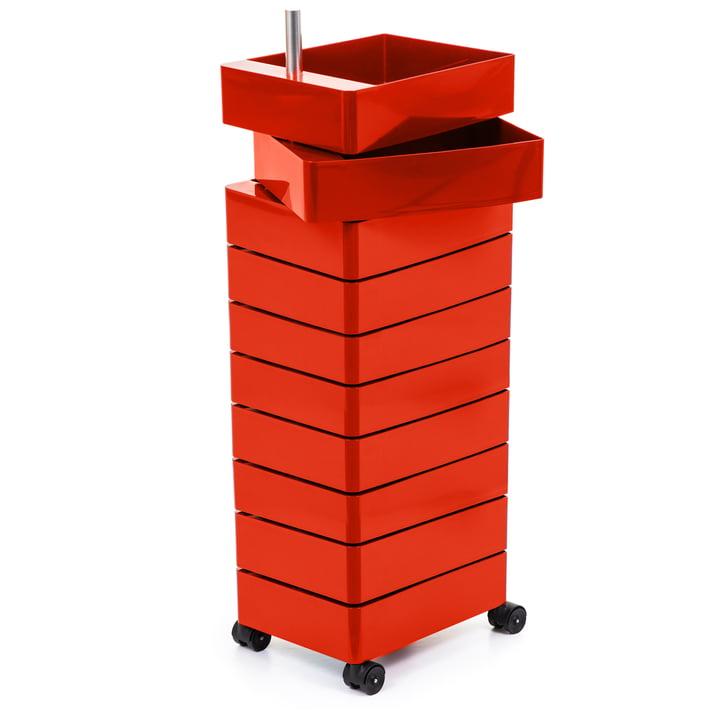Conteneur 360° 10 compartiments, rouge par Magis