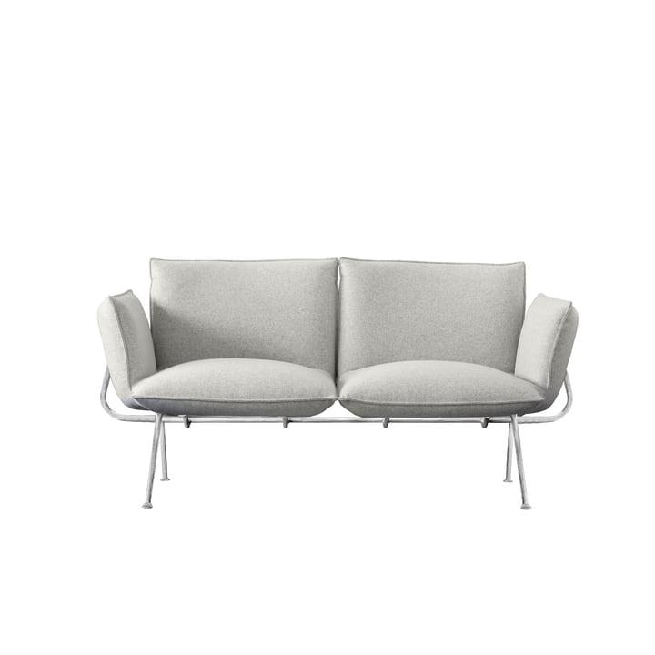 Canapé Officina 2 places, structure galvanisée / housse gris clair (Divina Melange 120) par Magis