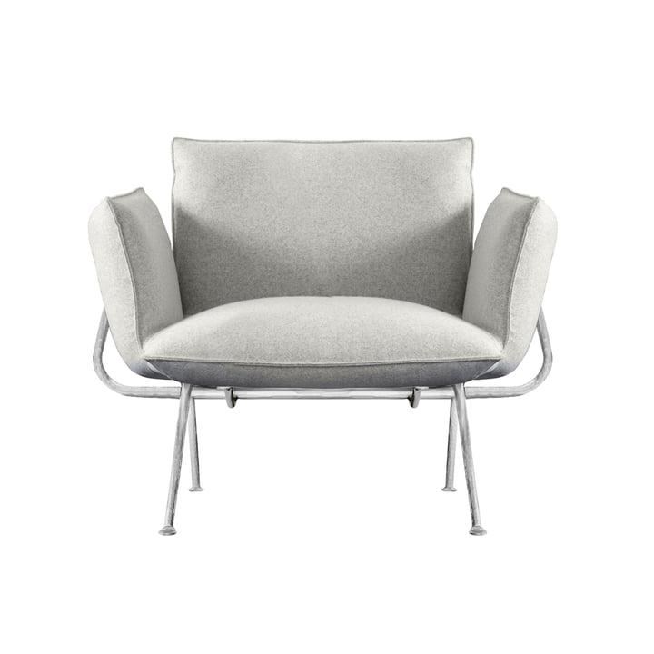 Fauteuil Officina, structure galvanisée / revêtement gris clair (Divina Melange 120) par Magis