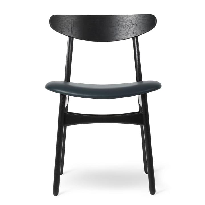 CH30P chaise en chêne laqué noir / cuir Thor noir par Carl Hansen