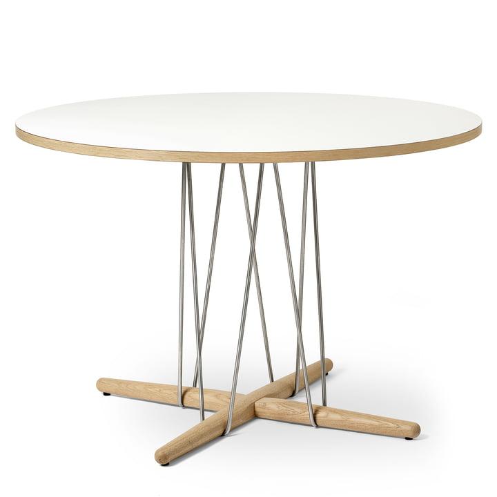 E020 Table d'appoint Ø 110 cm en chêne blanc huilé / stratifié blanc / acier chromé par Carl Hansen