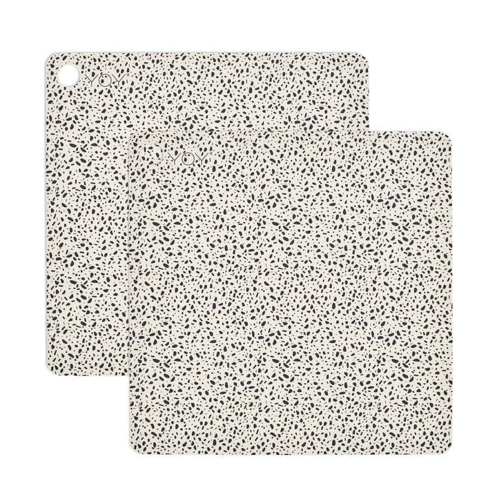Set de table Terrazzo, 38 x 38 cm en blanc (set de 2) par OYOY