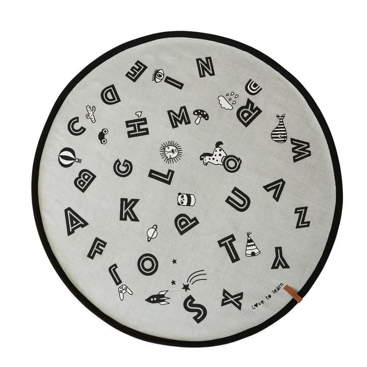 Tapis alphabet Ø 120 cm en gris par OYOY