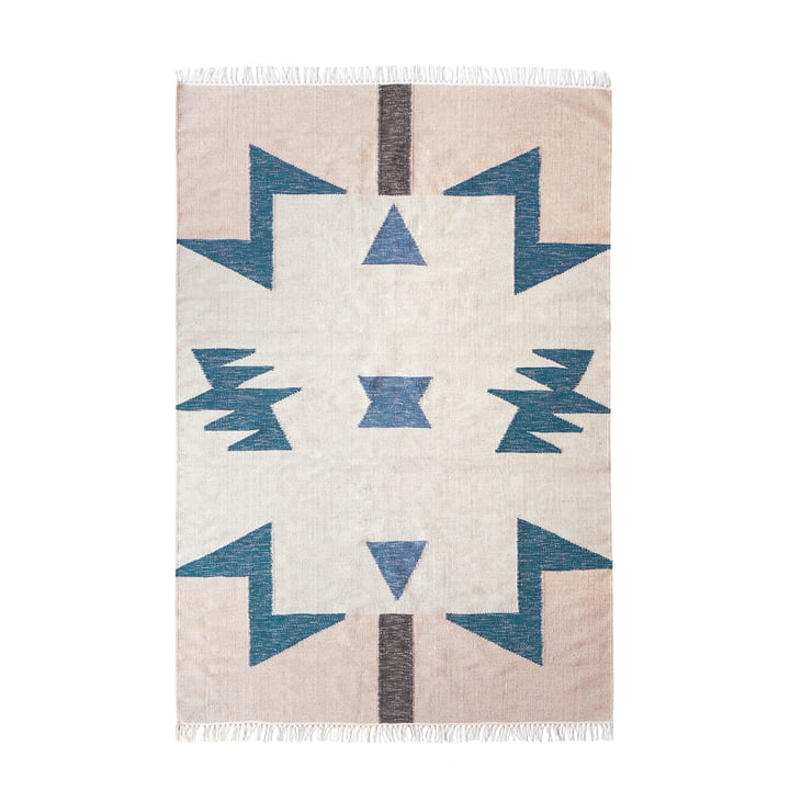 Tapis Kelim Triangles Bleus par Ferm Living in big