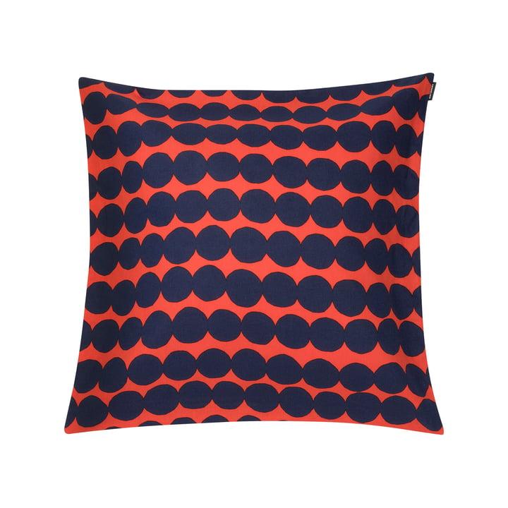 Housse de coussin Räsymatto 50 x 50 cm de Marimekko en orange / bleu foncé