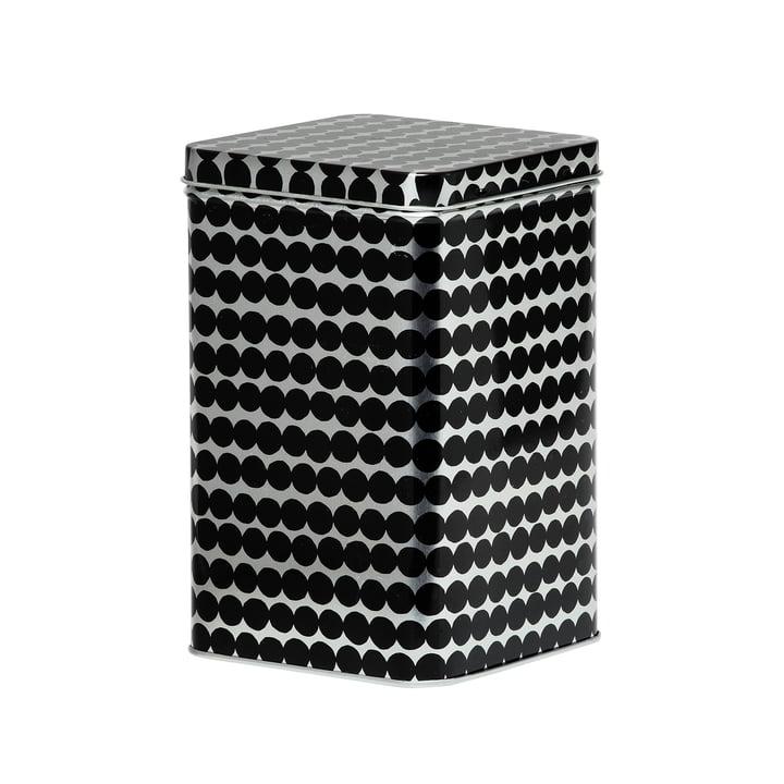 Räsymatto boîte de rangement H 17,5 cm de Marimekko en noir / gris