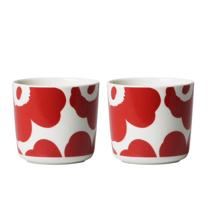 Tasse Oiva Unikko (lot de 2) 200 ml de Marimekko en rouge / blanc