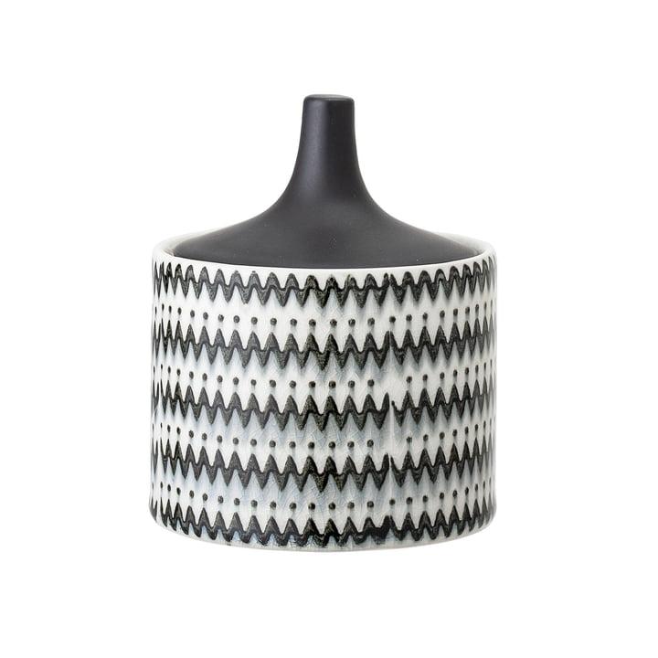 Cuve en faïence avec couvercle Ø 10 x H 12 cm de Bloomingville en noir / blanc