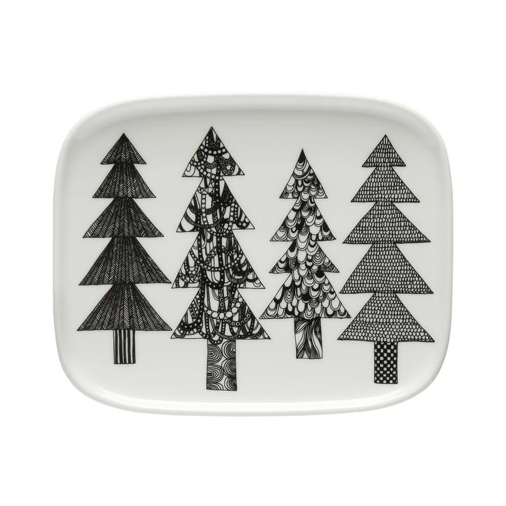 Oiva Kuusikossa assiette de service 15 x 12 cm de Marimekko en noir / blanc