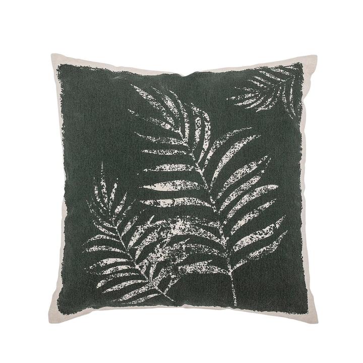 Coussin en coton avec motif de feuille 45 x 45 cm de Bloomingville en vert