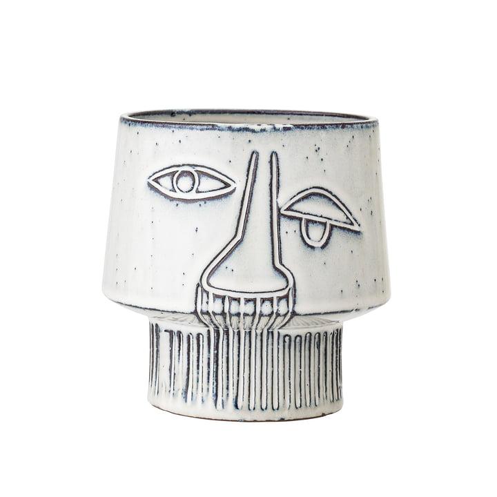 Jardinière en grès avec face Ø 15 x H 14,5 cm de Bloomingville en gris