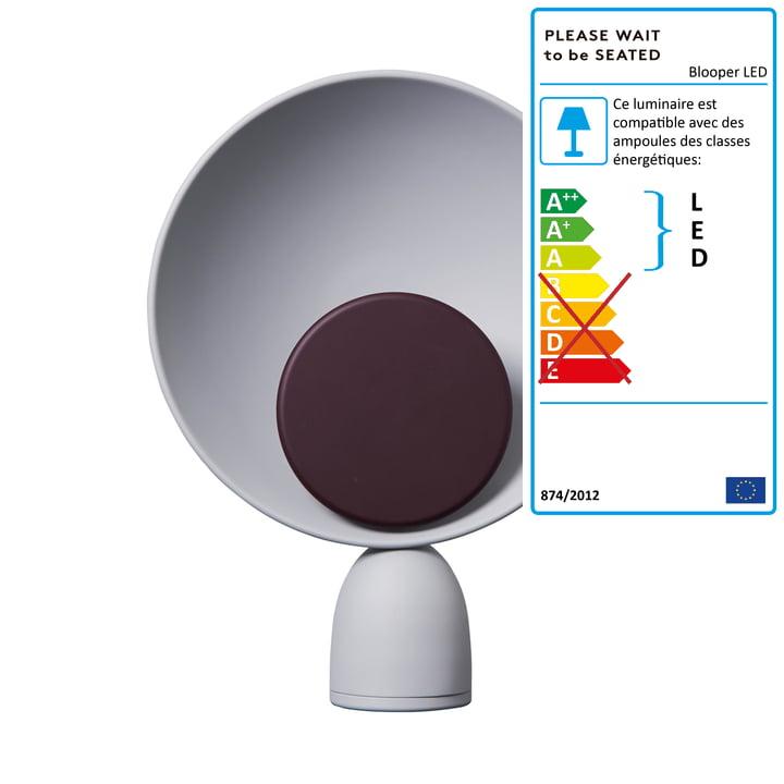 Blooper lampe de table LED en gris cendré / violet figue de Veuillez patienter avant de vous asseoir.