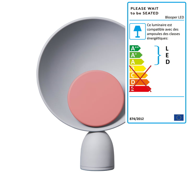 Blooper Lampe de table LED en gris cendré / rouge indien de Veuillez patienter avant de vous asseoir.