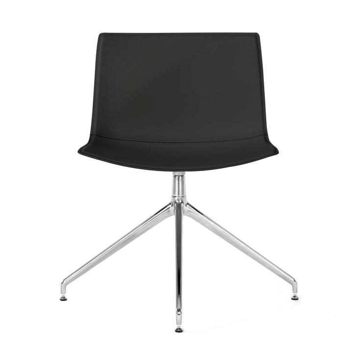 Catifa 53 piétement de chaise pivotant Arper en chrome / revêtement cuir coudé noir (lisse)