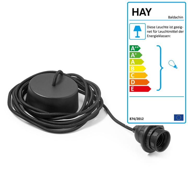 Câble avec auvent pour luminaire suspendu en noir par Hay