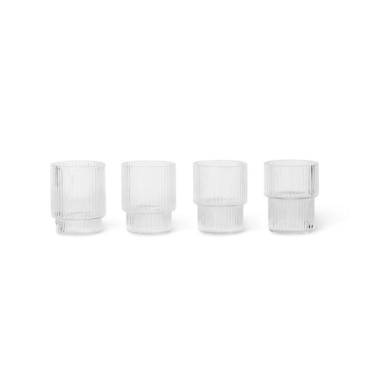 Ripple Verre à boire petit, transparent (lot de 4) par ferm Living