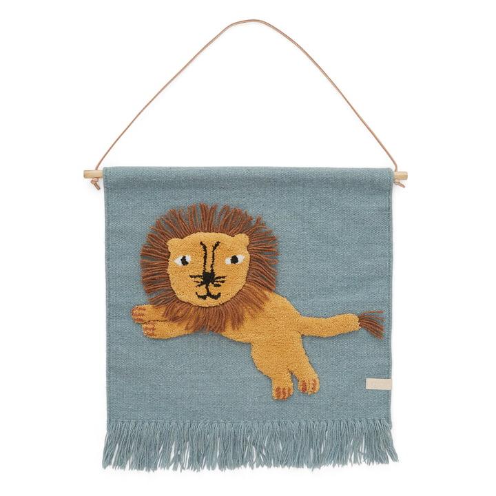 Tapisserie enfant avec motif animalier, lion / tourmaline par OYOY