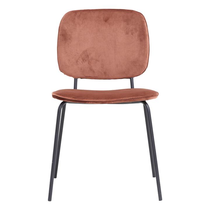 Chaise en velours virgule par House Doctor en rouge rouille