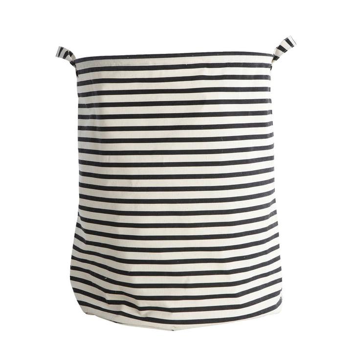Panier à linge Stripes Ø 40 x H 50 cm par House Doctor en noir / blanc