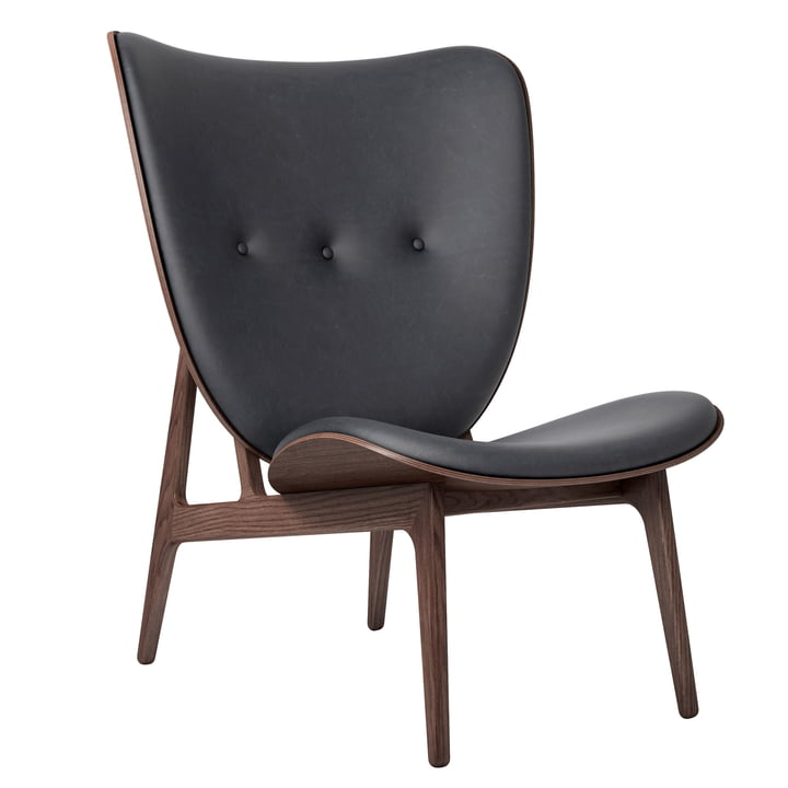 Chaise Elephant Lounge Chair by Norr11 en chêne teinté / cuir anthracite (21003)