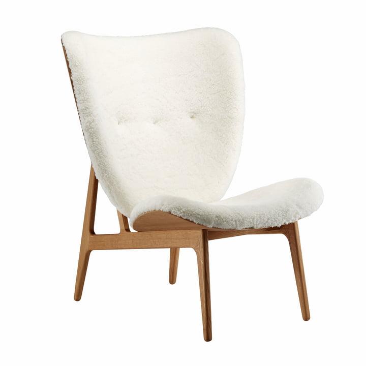 Chaise Elephant Lounge Chair by Norr11 chêne fumé / peau de mouton blanc cassé