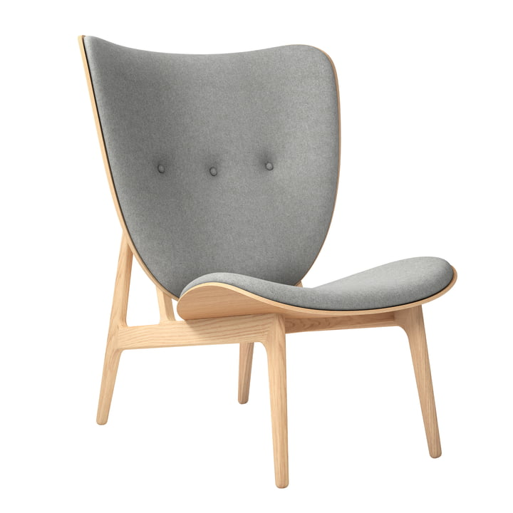 Chaise Elephant Lounge Chair by Norr11 en chêne naturel / laine gris clair (Gris clair 1000)