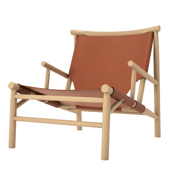 Chaise Samurai Lounge Chair by Norr11 en chêne nature / cuir cognac